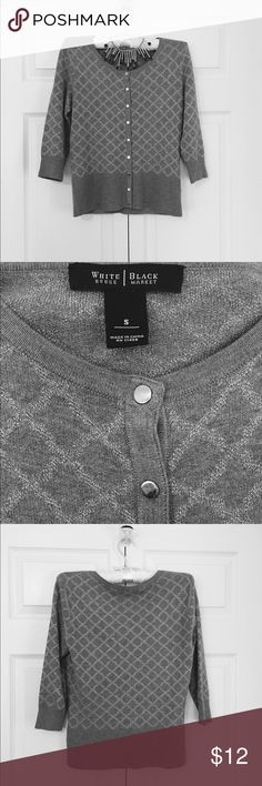 """WHBM Gray Sweater sz S EUC Gray White House Black Market 3/4 Sleeve Sweater.  Snap front and silver threads interspersed in a diamond pattern.  Size Small in excellent condition.  Approx 22"""" long x 18"""" across. White House Black Market Sweaters Crew & Scoop Necks"""