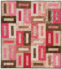 Strip Piecing Quilts Patterns Easy Strip Quilt Patterns For Beginners Strip Pieced Quilts Easy Designs Free Pattern Buttonholes Quilt By Osie Lebowitz For Timeless Treasures Fabric As Seen At Red Roos Batik Quilts, Jellyroll Quilts, Lap Quilts, Scrappy Quilts, Small Quilts, Strip Quilt Patterns, Jelly Roll Quilt Patterns, Quilting Patterns, Quilting Tutorials