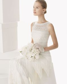 159 CERDENA   Wedding Dresses   2014 Rosa Clara Collection   Rosa Clara   Shown with Beaded & embroidered bodice (close up)