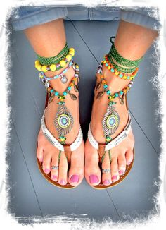 Beaded PEACOCK Feather BAREFOOT sandals Toe Thongs by GPyoga, $98.00