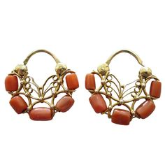 Pair of Antique Oaxacan Coral and Gold Earrings | From a unique collection of vintage hoop earrings at http://www.1stdibs.com/jewelry/earrings/hoop-earrings/
