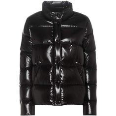 Moncler Brethil Down Jacket ($680) ❤ liked on Polyvore featuring outerwear, jackets, black, down filled jacket, moncler jacket, moncler and down jacket