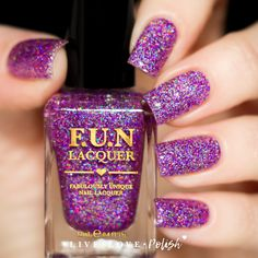 FUN Lacquer Holo Queen (H) is a vibrant magenta holographic glitter polish  with added holographic pigment in a clear base. This nail polish is  handcrafted ... e0a80185722a
