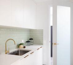 Bathroom Renos, Laundry In Bathroom, Green Subway Tile, Subway Tiles, Beaumont Tiles, Splashback Tiles, Vintage Laundry, Bathroom Inspiration, Design Inspiration