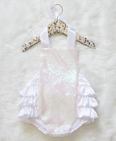 b70af842af13 White Seqiun Romper, baby romper, toddler romper, sitter romper, sequin  romper, ruffle romper, baby girl clothes, princess romper