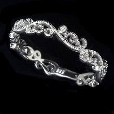 Filigree Diamond Wedding Band - Art Deco by