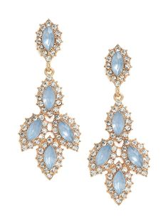 Tap into the wonderfully elegant and refined vibe of these striking drop earrings. They feature a gorgeous cascade of sky-blue marquise crystals, each framed by more glittering gems.