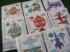 vintage postage - transport graphic - vintage postage stamp ephemera. $8.00, via Etsy.