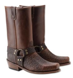 Made in USA, Made in America.  Leather Harness Boots for Men - Bison Leather Harness Boots --