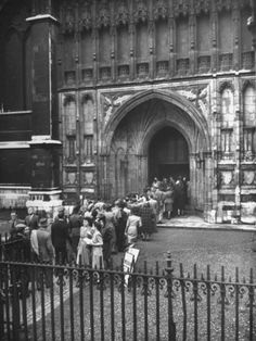 Crowd Streaming into Westminster Abbey on VE Day, Marking the End of WWII in Europe. Life Magazine