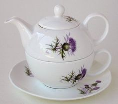 Thistle tea for one stacking teaset (teapot, cup and saucer) in white decorated with Scottish thistle flowers and leaves, ceramic