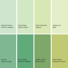 Green paint picks for bedrooms (clockwise from top left): Glacial Green Pratt & Lambert Soft Green Mythic Paint Timid Absinthe Valspar Celery Ice Behr Pear Green Benjamin Moore Green Jeans Kelly-Moore Eco Green Sherwin-Williams Arsenic No. Green Rooms, Bedroom Green, Bedroom Colors, Bedroom Stuff, Green Walls, Green Paint Colors, Wall Colors, House Colors, Green Color Names