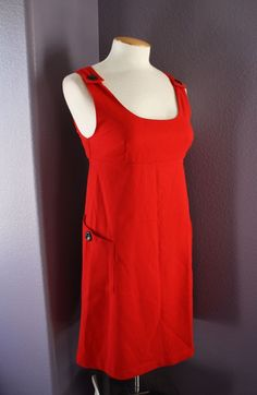 eef376f945db NWT Mossimo School Girl Red Flannel Button Detail Sleeveless Jumper Dress  XS  Mossimo  EmpireWaist  Casual