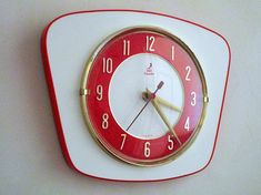 French Atomic Age JAZ Bright Orange and White Formica Wall Clock - French Formica Mid Century Clock - Excellent Working Condition Vintage Walls, Vintage Clocks, Red Kitchen, Vintage Kitchen, French Clock, Things To Come, Red Things, Atomic Age, Space Age