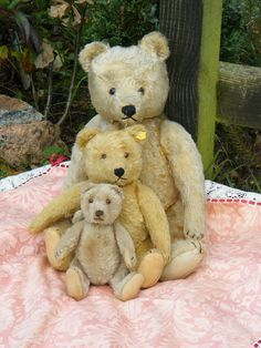 Adorable hug of old 1940's - 1950's Steiff bears. Email us or visit our website for more old steiff bears for sale. www.oldteddybearshop.co.uk