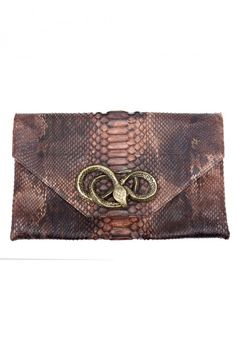 Haute Hippie Python Envelope With Snake Closer