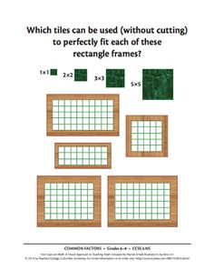 Here's a large set of images for grades 6-8 (Common Core aligned) based on the ideas found in the book EYES ON MATH by Marian Small.