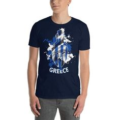 You've now found the staple t-shirt of your wardrobe. It's made of a thicker, heavier cotton, but it's still soft and comfy. And the double stitching on the neckline and sleeves add more durability to what is sure to be a favorite! Greek Flag, Paint Splash, Monster Design, Helmet, Unisex, Trending Outfits, Greece, Mens Tops, Cotton