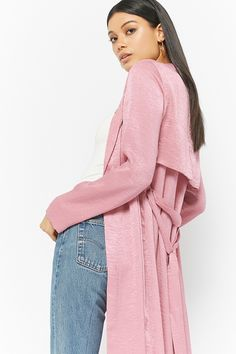 Crinkled-Satin Duster Jacket