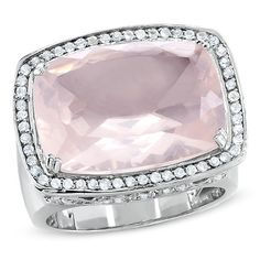 Pink Quartz + White Topaz Ring