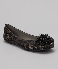 Take a look at this Natural Satin & Black Lace Lacey Flat by David Tate on #zulily today!