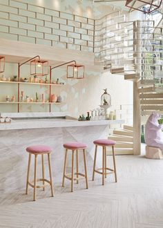 pink stools with minty color bar top