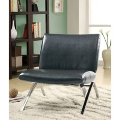 @Overstock - This unique modern accent chair features a sturdy chrome metal frame. The upholstery is composed of polyurethane with a black leather look and the fill is soft foam.http://www.overstock.com/Home-Garden/Black-Leather-Look-Chrome-Metal-Modern-Accent-Chair/6996614/product.html?CID=214117 $259.99