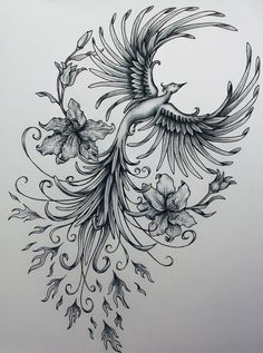 Phoenix original art example of jennifermckayhiggins - Tatoo. Rising Phoenix Tattoo, Phoenix Bird Tattoos, Phoenix Tattoo Design, Phoenix Tattoo Feminine, Feminine Arm Tattoos, Tribal Phoenix Tattoo, Piercings, Piercing Tattoo, Body Art Tattoos