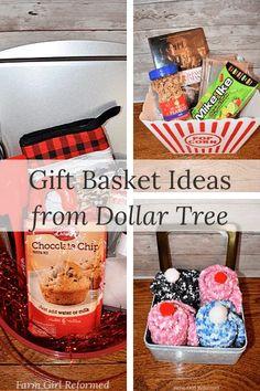 Gift Basket Ideas from Dollar Tree Christmas Kitchen Towels, Christmas Mugs, Christmas Candy, Christmas Shopping, Holiday, Movie Night Basket, Sock Cupcakes, Chocolate Santa, Mini Candy Canes