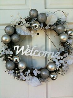 Elegant Silver and White Christmas Wreath by Korrielukei on Etsy
