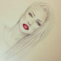 photography pretty drawing art red girl cute Black and White fashion hot beautiful women amazing barbie red lips alena shishkova