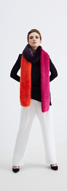Helen Moore AW15 | The Switch | A faux fur scarf that joins to another to make a long mutli coloured scarf.
