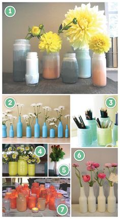 I can't throw away a pretty glass bottle or jar. I love to paint them with enamel paint and just have them in my kitchen on top of the cabinets.