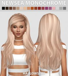 Newsea Monochrome hair recolors at Hallow Sims via Sims 4 Updates