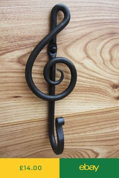 Blacksmith made hand Forged Musical clef iron wall hook / kitchen hook / house hold hook - Made in my forge in Bedfordshire England. The iron wall hook have been crafted with care to enhance - Metal Projects, Metal Crafts, Welding Projects, Coal Forge, Home Decor Hooks, Blacksmith Forge, Blacksmith Projects, Forging Metal, Vintage Industrial Furniture