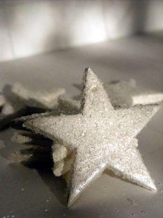 Star Wedding Decor - Frost pearl winter star decoration, gift tie on, winter wedding decor, set of 6