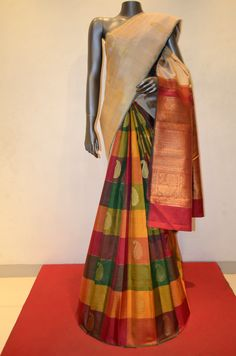 Cream With Colorful Checks Patli Kanjeevaram Silk Product Code: AB212919 Online Shopping: http://www.janardhanasilk.com/index.php?route=product/product&search=AB212919&description=true&product_id=4134