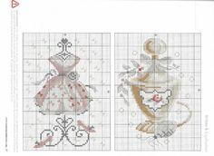 0 point de croix vintage shabby robe et parfum - cross stitch dress and perfume