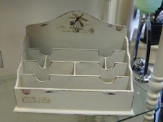 SHABBY CHIC LARGE LETTER RACK DESK TIDY STAND HOLDER CREAM DRAGONFLY DESIGN