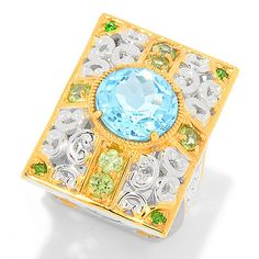 160-690 - Gems en Vogue Paris 5.14ctw Multi Gemstone Palace of Versailles North-South Ring