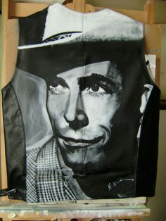 Airbrush painting on a leather waste coat. Freehand. Hank Williams .Painted by Martin Charles Blake.
