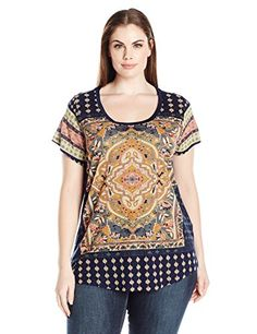ce190756 Lucky Brand Womens Plus Size Persian Carpet Tee Navy Multi 1X *** Find out
