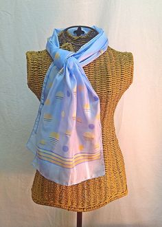 Vintage Scarf Long Light Blue with Orange Retro by MyVintageStyles, $12.00
