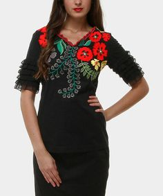 Take a look at this Black Blossom Ruffle-Sleeve V-Neck Top by Almatrichi on @zulily today!