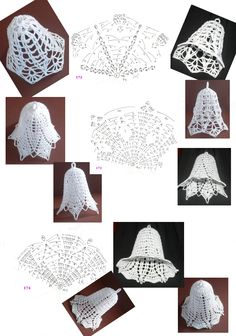 172 - 173 - 174 Crochet Ball, Crochet Chart, Thread Crochet, Filet Crochet, Crochet Doilies, Crochet Flowers, Crochet Christmas Ornaments, Crochet Snowflakes, Christmas Bells