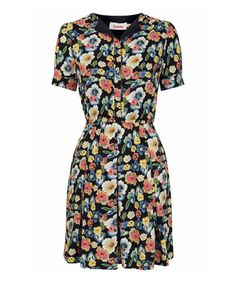 Another great find on #zulily! Black Floral Cesia Shirt Dress #zulilyfinds