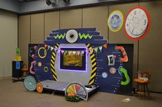 Set idea for the Bible lesson time area (Sim Station) at #TimeLab #VBS2018 -- also available as a scene setter from AnswersVBS.com!