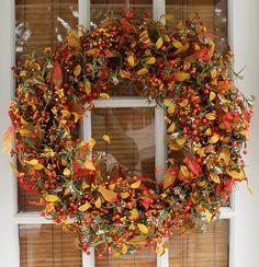 The Wreath Depot Appalachia Berry Silk Fall Door Wreath, 22 inch, Beautiful White Gift Box Included #ad