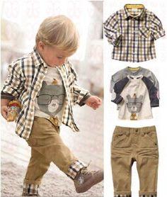 Tz-063, sin gastos de envío! Nueva primavera ropa del bebé conjunto chico cool 3 pcs trajes t- shirt+shirt+pants ropa de los n...