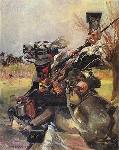 Wojciech Kossak - Walka ułana z piechurem, 1912